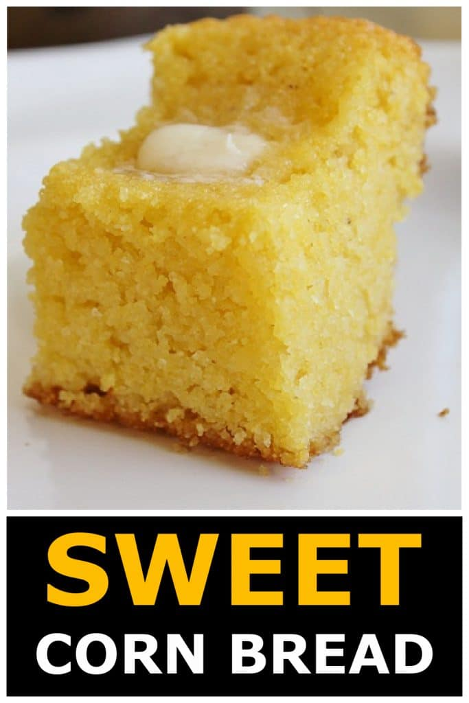 Square of Sweet Corn Bread with butter on top