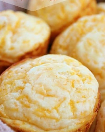 Up close image of a basket full of Jim 'N Nick's Cheesy Biscuits.
