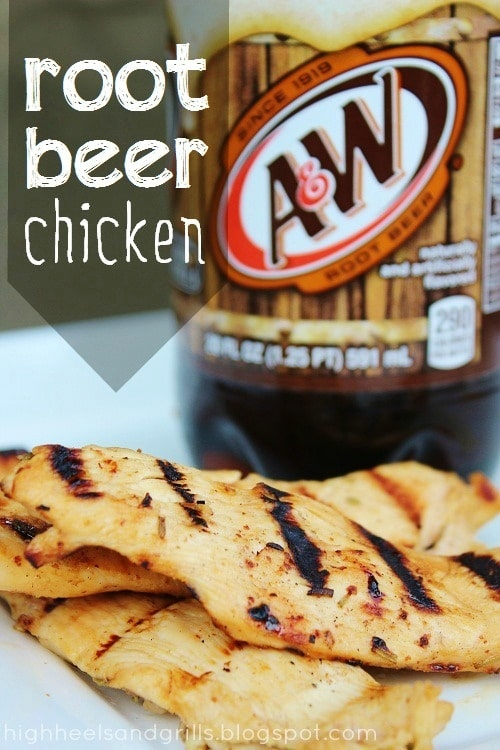 Three root beer chicken breasts on a plate with a liter of root beer in the background