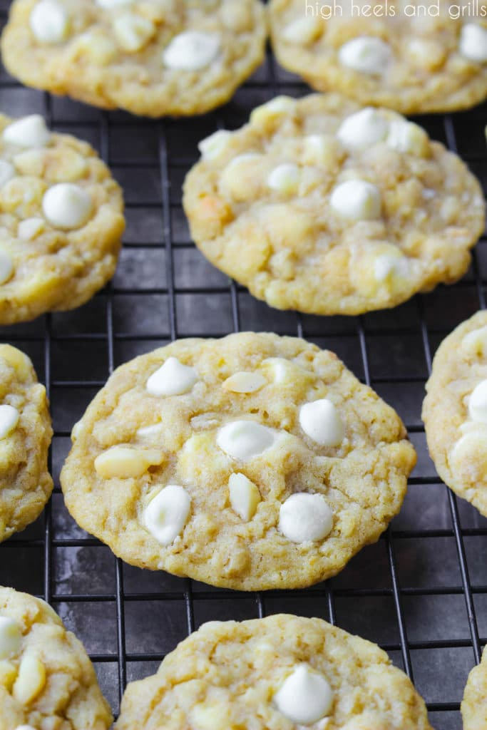 Cooling rack of White Chocolate Chip Macadamia Nut Cookies