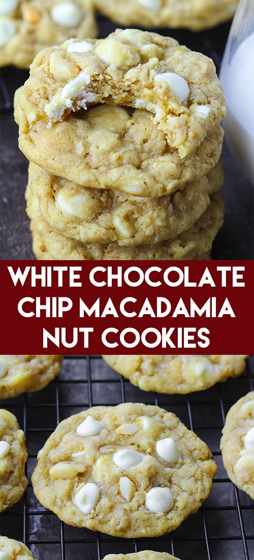 Look no further for the best White Chocolate Chip Macadamia Nut Cookies recipe! These ones are soft and chewy and everyone I know loves them! #whitechocolate #macadamia #cookies #christmascookie #cookierecipe #christmascookierecipe #softcookie #chewycookie #cookieexchange