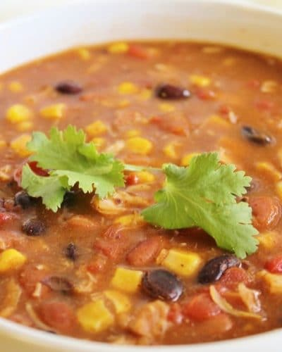 Up close view of a bowl of 8 Can Chicken Taco Soup with cilantro as garnish.