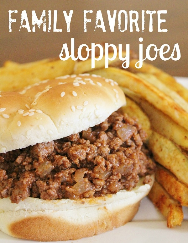 Favorite Sloppy Joe Mix between a bun with fries on the side.