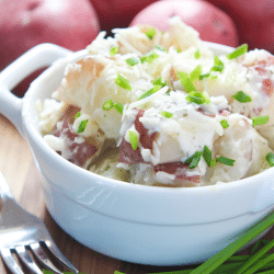 Chunky ranch potatoes in a serving dish