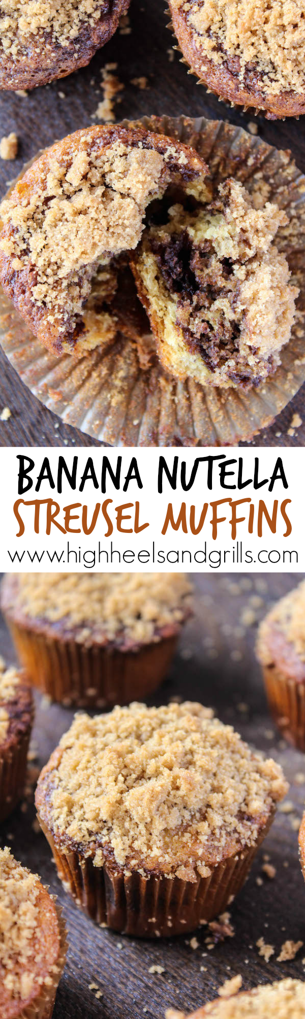 Banana Nutella Streusel Muffins Collage