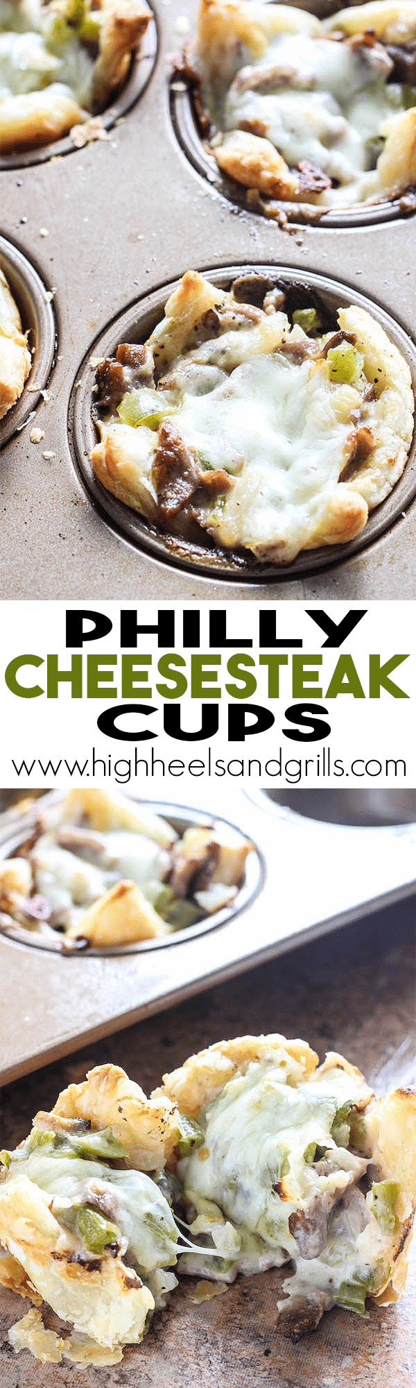 Philly Cheesesteak Cups - An easy dinner recipe that tastes so good! https://www.highheelsandgrills.com/philly-cheesesteak-cups/ 