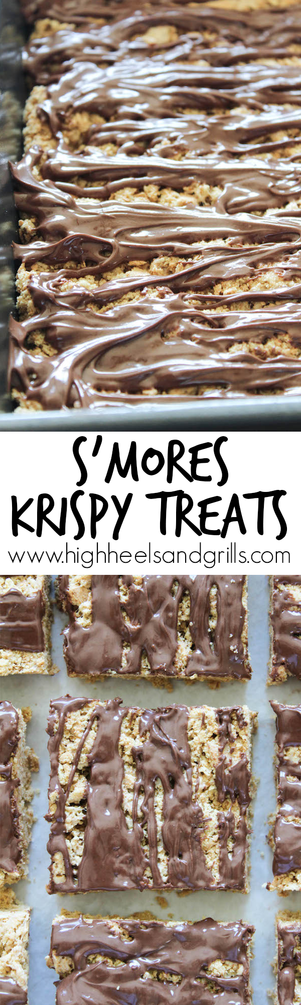 Smores Krispy Treats Recipe - Made from graham cracker crumbs instead of cereal. They taste just like a smore! Such a fun and easy, no bake, summer treat. https://www.highheelsandgrills.com/smores-krispy-treats/