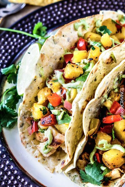 Chili Lime Chicken Tacos with Grilled Pineapple - Easy Dinner Meal Plan