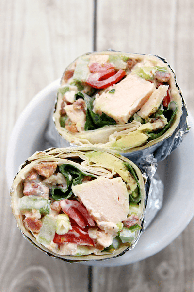 BLAT {Bacon Lettuce Avocado Tomato} Chicken Salad Wrap 1