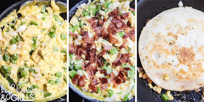 Breakfast Quesadillas - Egg, bacon, peppers, onion, and cheese smothered between two crisp tortillas. Makes for an amazing and quick breakfast!