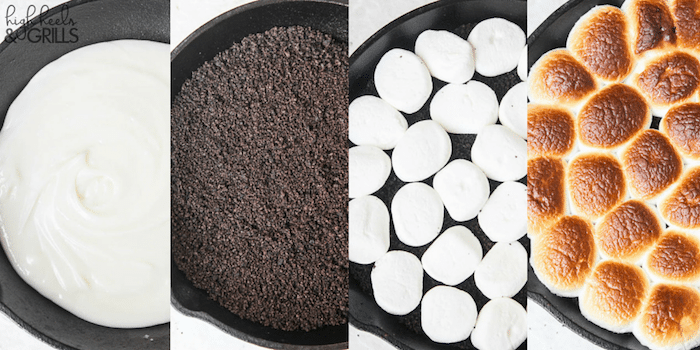 Cookies and Cream Smores Dip - Melted white chocolate chips, crushed Oreos, and toasted marshmallows. Dip with graham crackers to fully enjoy this amazing dessert! https://www.highheelsandgrills.com/cookies-and-cream-smores-dip/
