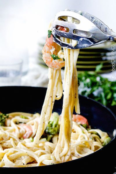 30 Minute Roasted Shrimp and Broccoli Fettuccine Alfredo - Easy Meal Plan Sunday #7