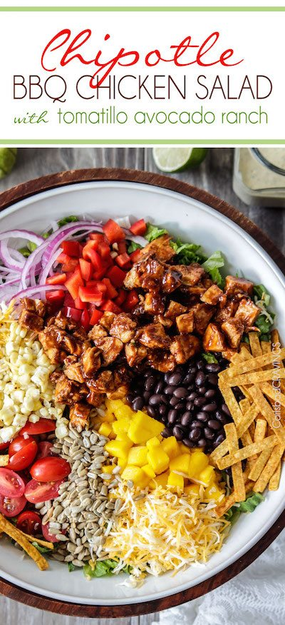 Chipotle BBQ Chicken Salad with Tomatillo Avocado Ranch - Easy Meal Plan #12