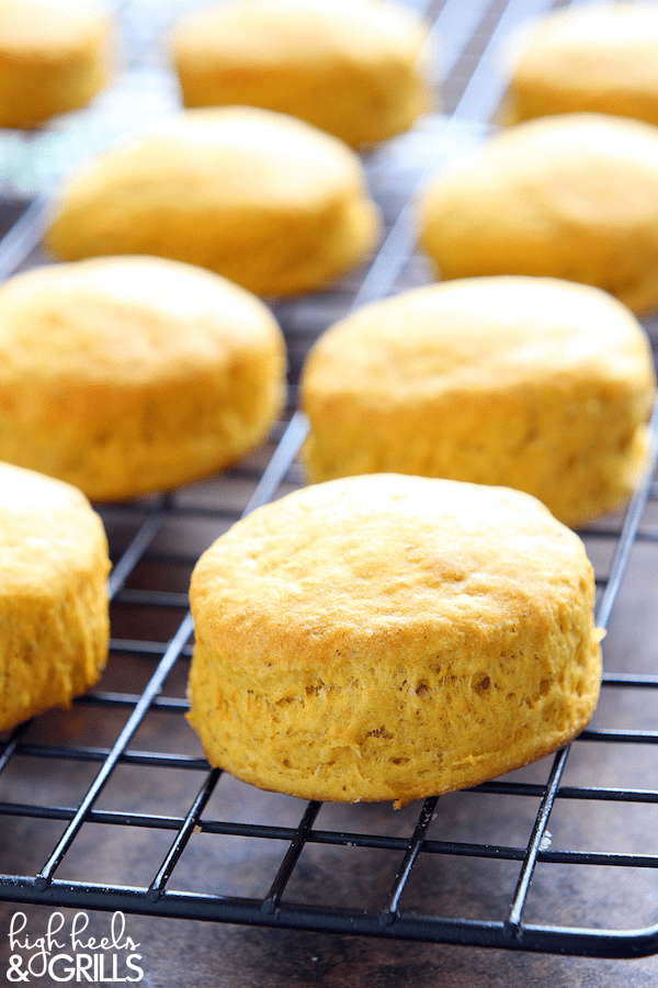 These Pumpkin Buttermilk Biscuits are tall, fluffy, and pumpkiny. They make a great fall food side dish for your favorite fall time meal!