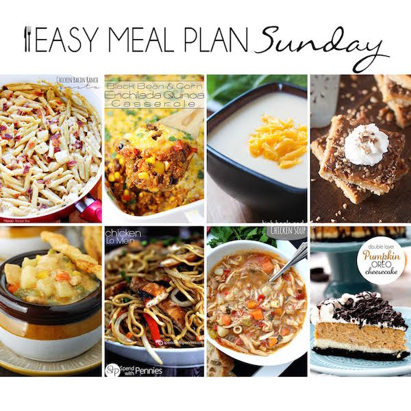 Easy Meal Plan #14 - 6 dinners, 2 desserts, and a breakfast idea for your Saturday morning!