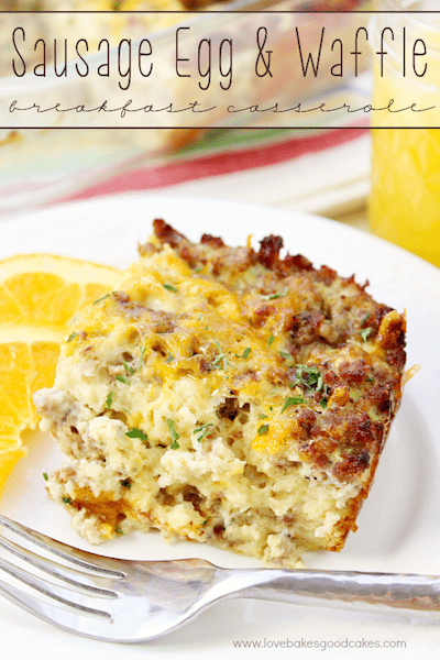 Sausage Egg and Waffle Breakfast Casserole