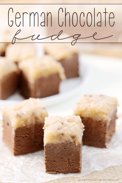 Small squares of fudge on a white plate.