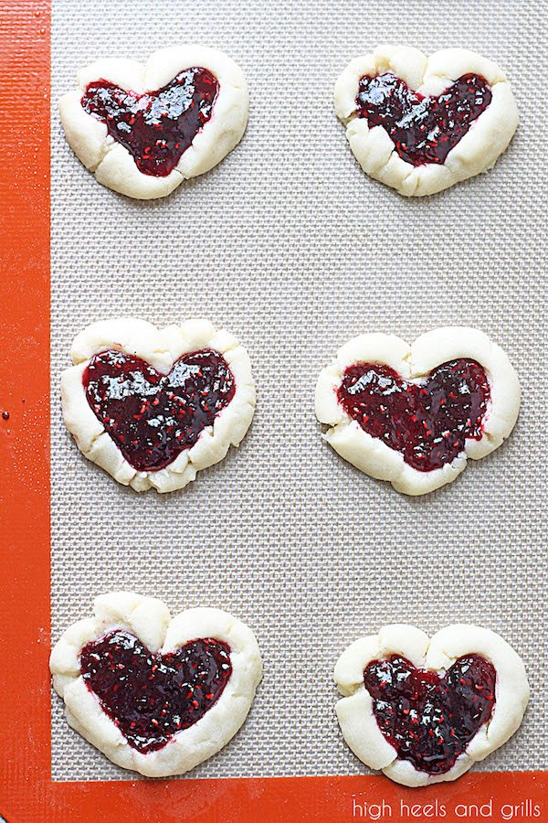Raspberry Thumbprint Heart Cookies - High Heels and Grills