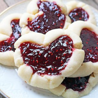 Raspberry Thumbprint Heart Cookies
