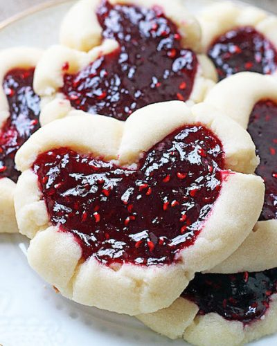 Raspberry Thumbprint Heart Cookies