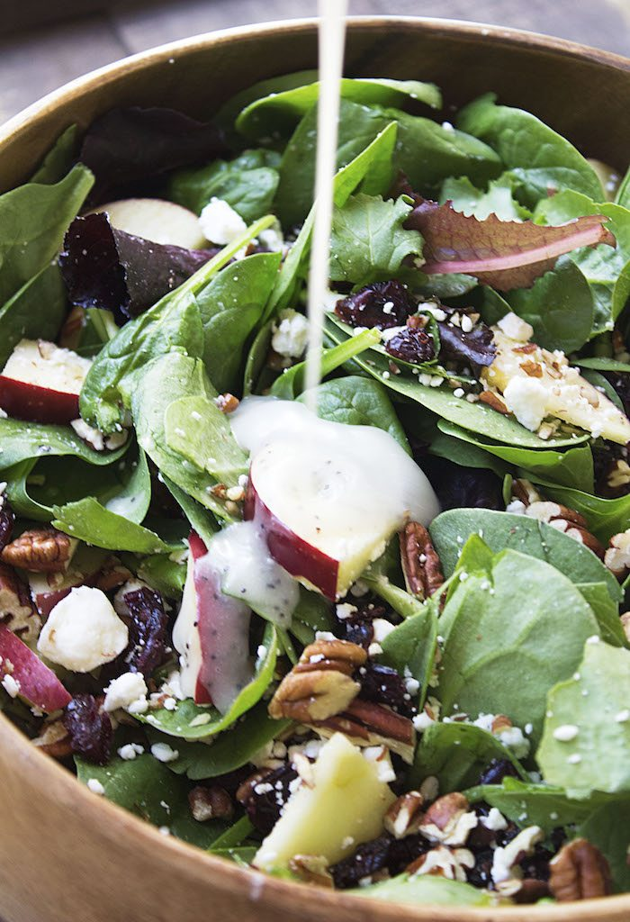 Apple Cranberry Feta Pecan Salad with Poppyseed Dressing. Thanksgiving side dish.