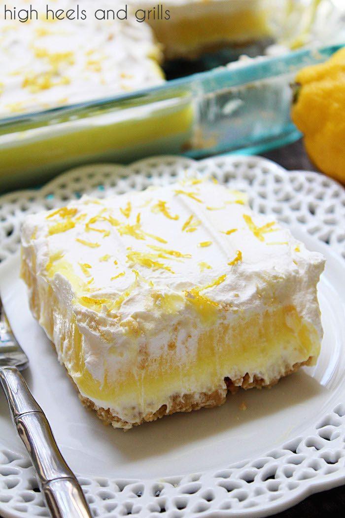 No Bake Lemon Layered Dessert on plate.