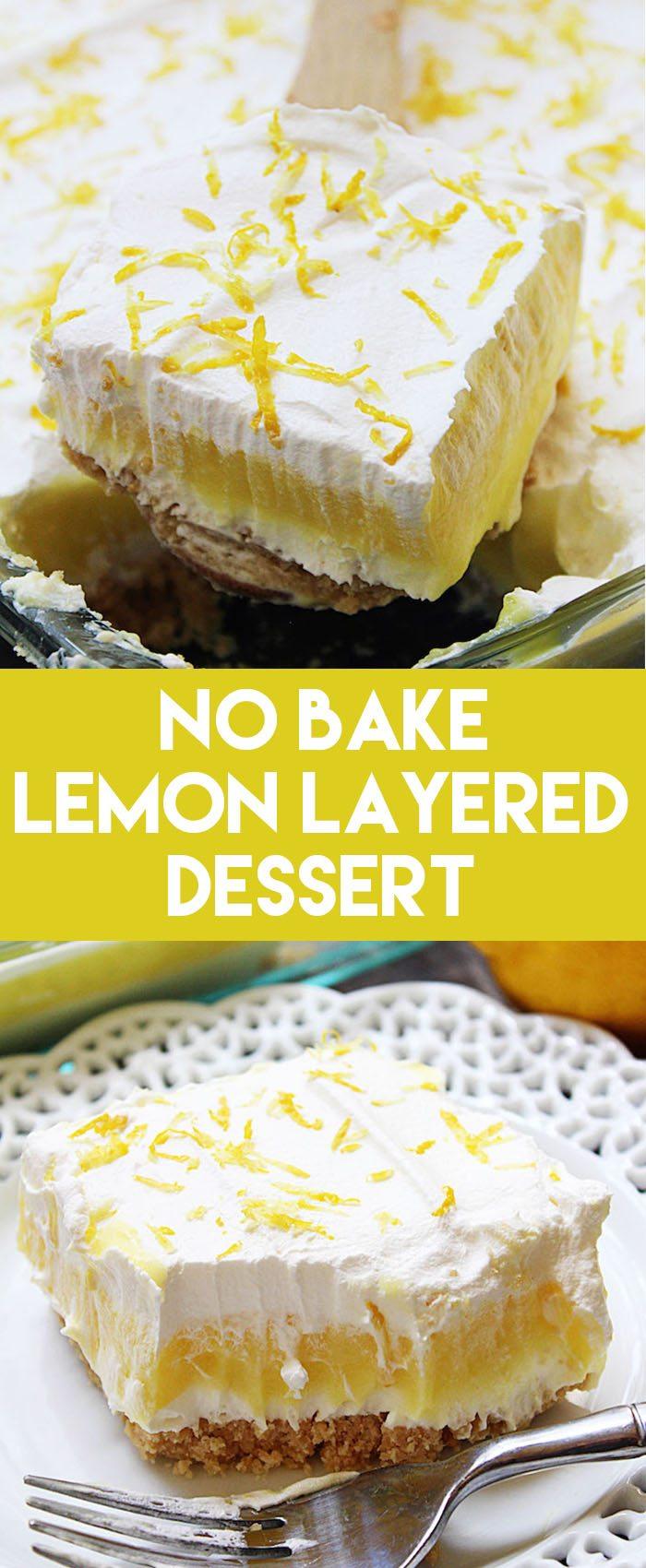 This No Bake Lemon Layered Dessert makes for an easy dessert recipe! Golden Oreos, cheesecake, lemon pudding, and whipped topping make it taste awesome! #nobake #dessert #nobakedessert #lemon #easydessert