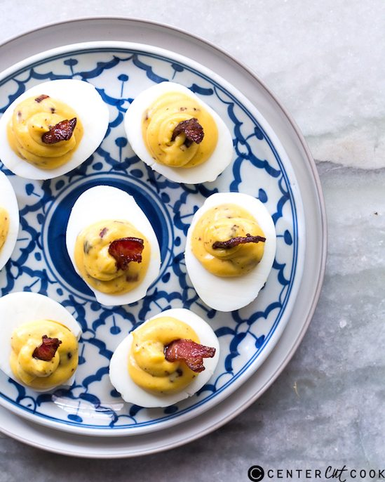 Best Thanksgiving Side Dishes - Cheddar Bacon Deviled Eggs Recipe