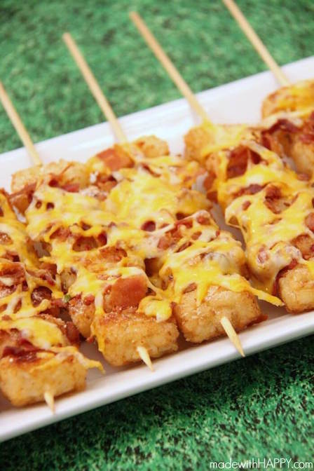 Best Appetizer Recipes - Loaded Tater Tot Skewers