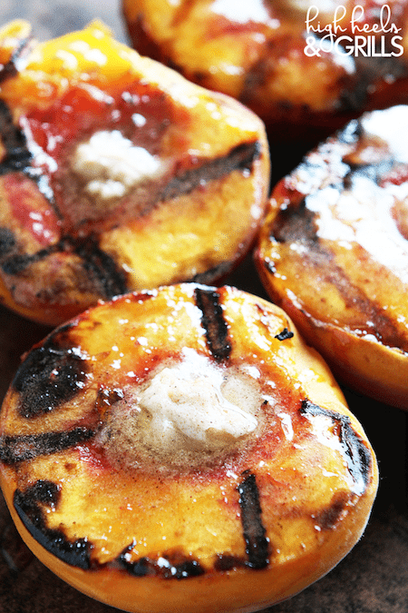 Up close shot of Cinnamon Sugar Grilled Peaches - Best Skinny Dessert Recipes