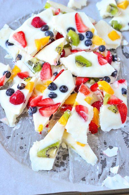 Plate full of Frozen Yogurt and Fruit Bark - Best Skinny Dessert Recipes