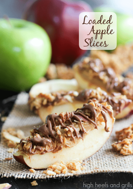 Up close shot of Loaded Apple Slices - Best Skinny Dessert Recipes