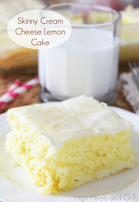 Slice of Skinny Cream Cheese Lemon Cake with milk - Best Skinny Dessert Recipes