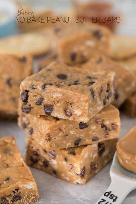 Stack of Skinny No Bake Peanut Butter Bars - Best Skinny Dessert Recipes