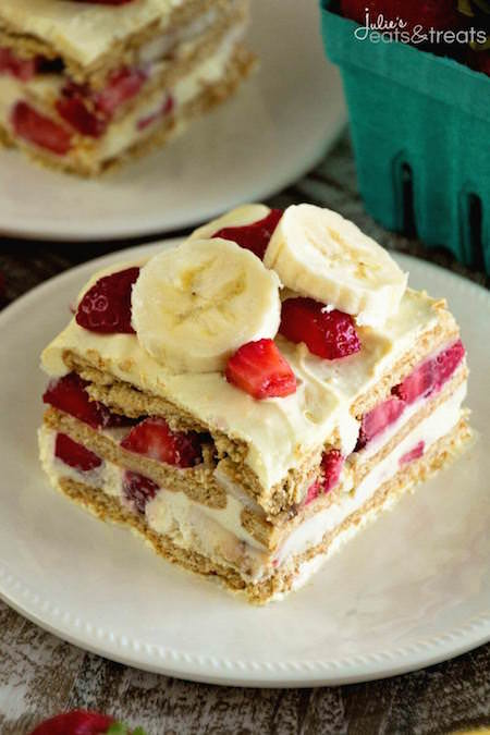 Slice of Skinny Strawberry Banana Ice Box Cake - Best Skinny Dessert Recipes