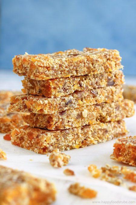Stack of Fruity No Bake Energy Bars - Best Skinny Dessert Recipes