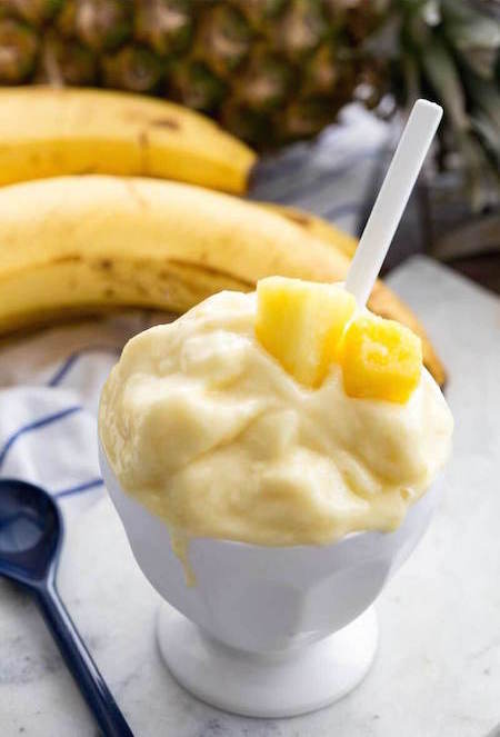 Creamy, melty, Skinny Dole Pineapple Whip in a cup - Best Skinny Dessert Recipes