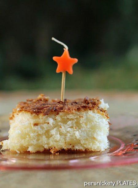 Slice of Skinny Pineapple Coconut Cake - Best Skinny Dessert Recipes