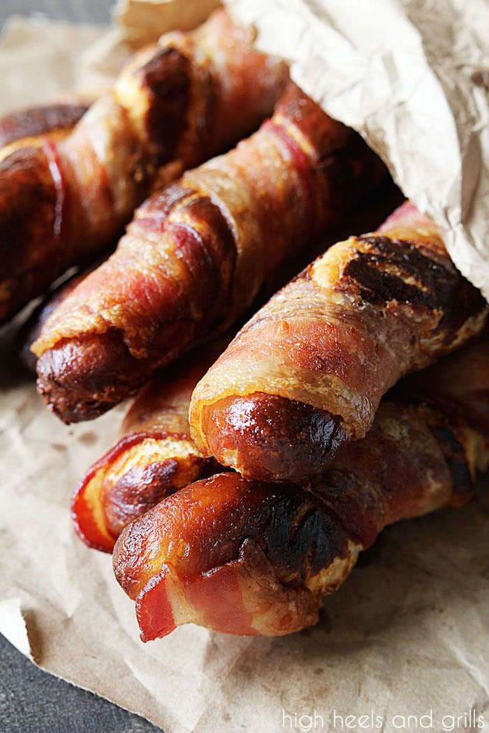 Brown bag of Bacon Wrapped Soft Pretzels - High Heels and Grills
