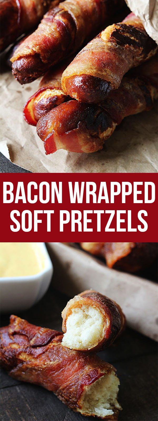 Warm, soft, and salty Bacon Wrapped Soft Pretzels. One of my favorite appetizers! #bacon #bread #pretzel #appetizer #superbowl #recipe