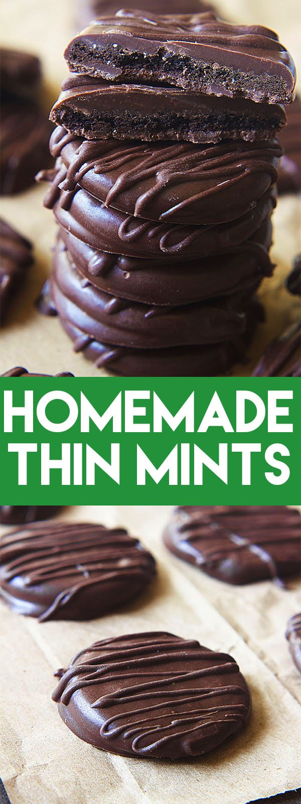 Homemade Thin Mints are so easy to make and you can enjoy them long after Girl Scout cookie season is over! #thinmints #girlscoutcookie #cookie #dessert #chocolate #mint #easy #nobake