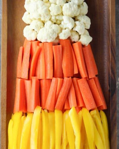 Candy Corn Halloween Veggie Tray
