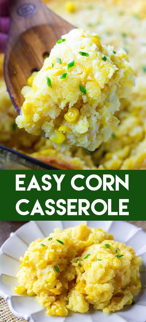 This Easy Corn Casserole deserves to be a Thanksgiving side dish on your table this year! It only takes 5 easy ingredients to make it and tastes heavenly! #easycorncasserole #thanksgivingsidedish