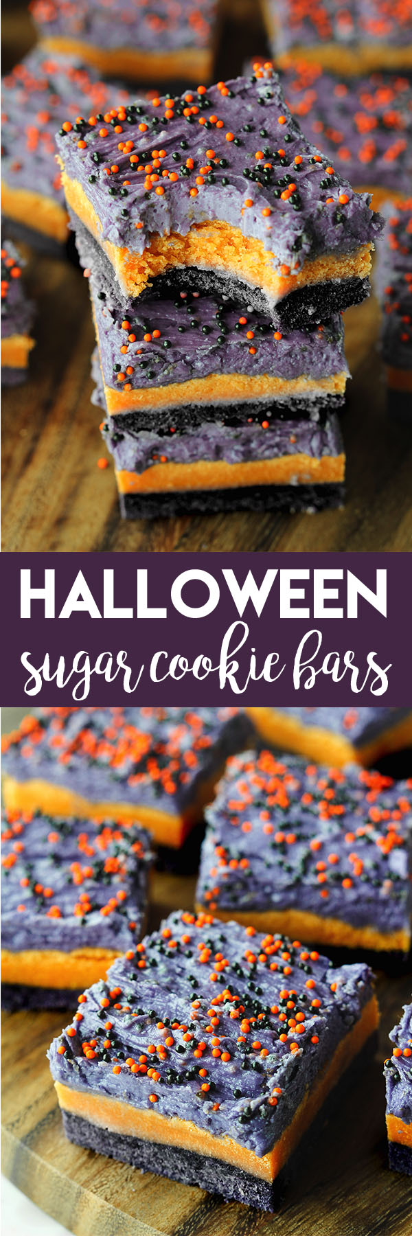 If you need an easy Halloween treat idea, make these Halloween Sugar Cookies Bars! They are so festive, but take such little effort. They would be great for school Halloween treats! #halloween #halloweenfood #halloweendessert #halloweendesserts #halloweenfoodideas #halloweentreats #halloweenrecipe #halloweenrecipes
