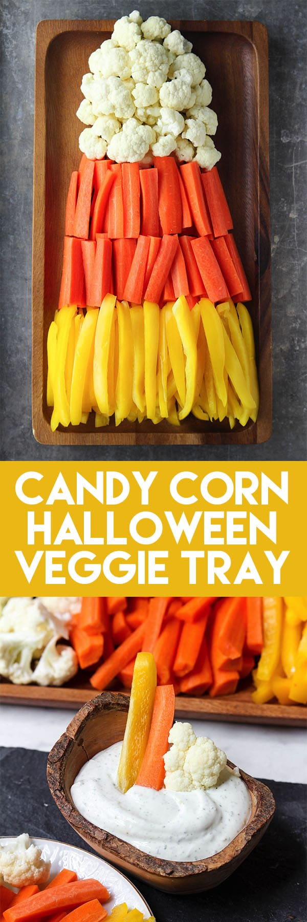 This Candy Corn Halloween Veggie Tray is such a fun option for a healthy Halloween treat! Add a bowl of dip and you have yourself a super easy Halloween party food! #halloweenfood #halloweenpartyfood #halloweenveggietray #healthyhalloweenfood