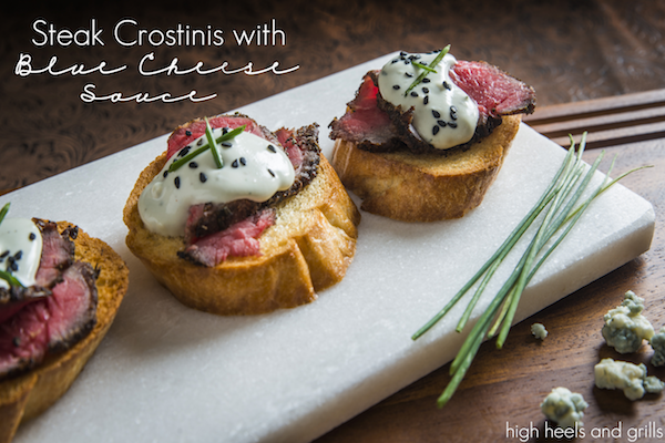Steak crostini with blue cheese sauce high heels and grills for Plural of canape