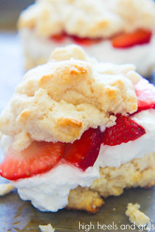 Strawberry Shortcake - Crisp biscuits, homemade whipped cream and sugared strawberries. These are great as a breakfast OR a dessert!