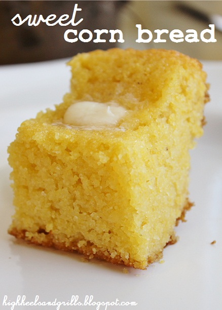Slice of Sweet Corn Bread with melted butter - High Heels and Grills